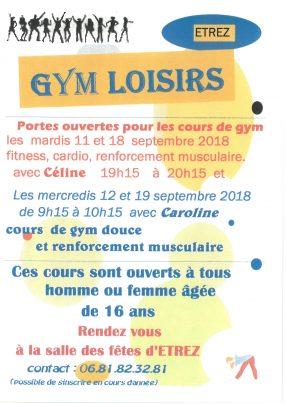 GYM LOISIRS - REPRISE DES COURS