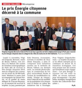 Remise du Prix Energies Citoyennes à la Commune de Bresse Vallons
