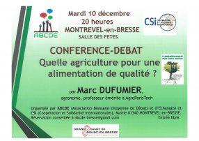 Conférence-débat : Quelle agriculture pour une alimentation de qualité ?