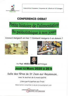 Conférence-débat : Petite histoire de l'alimentation